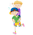 Two boys playing piggy back ride vector image