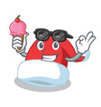 with ice cream christmas hat character cartoon vector image