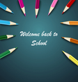 Back to School with colored pencils on the vector image vector image