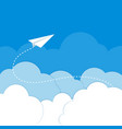 Paper airplane in the clouds on a blue background vector image