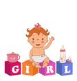 cute baby girl with children bricks vector image