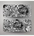 Cartoon doodles casino banners vector image