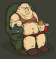Fat man with a remote control color vector image