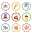 set of tags with birthday theme set of tags with vector image