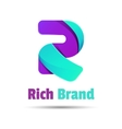 Sign the letter R color ribbon business logo icon vector image