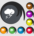 Weather icon sign Symbols on eight colored buttons vector image