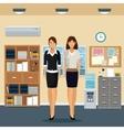 women office work standing cabinet file cooler vector image
