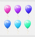 set of colorful balloons on the transparent vector image vector image