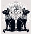 Egyptian cats with sacred eye vector image