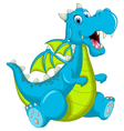 blue dragon cartoon sitting vector image vector image