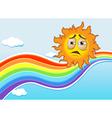A sky with a rainbow and a sun vector image