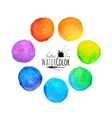 Colorful set isolated watercolor paint circles vector image