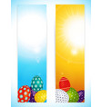 Easter vertical banners with decorated eggs vector image