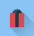 Flat gift box icon with bow vector image