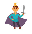 prince fairytale cartoon character brave medieval vector image