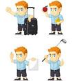 Red Head Boy Customizable Mascot 6 vector image