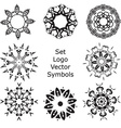 Set Hand drawing zentangle mandala logo symbols vector image