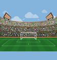 sport stadium with soccer goal net green grass vector image