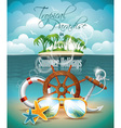 palm and shipping elements on tropical background vector image vector image