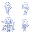 Funky kids rock band vector image