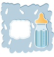 baby arrival announcement with bottle vector image vector image