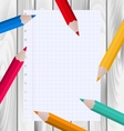 Colorful Pencils with Paper Sheet vector image vector image