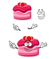 Cartoon cake with fruity sauce and cranberries vector image