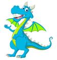 blue dragon cartoon waving vector image vector image