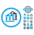 Banks Flat Icon with Bonus vector image