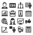 ceo and business management icons set vector image