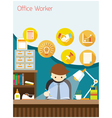 Office Worker on Desk with Office Supplies vector image