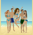 people at sand beach vector image vector image
