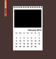 February 2014 calendar vector image vector image