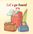 lets go travel hand drawn design summer vacation vector image vector image
