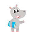 Cute little hippo student character standing with vector image