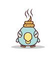 Isolated cartoon blue little bird get lucky on his vector image