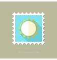 Sun flat stamp with long shadow vector image