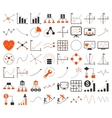 Business Charts With Triangle Dots Icons vector image