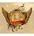 vintage gold valentines emblem vector image vector image