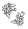 Beautiful decorative flower with leaves vector image