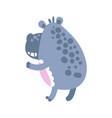 Cute cartoon hippo character standing back view vector image