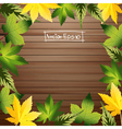 Green leaves frame with wood background vector image