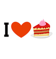 I love cake Heart and piece of cake Logo for sweet vector image