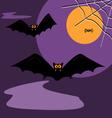 spider black bat flying in the dark sky Halloween vector image