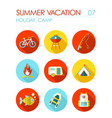 summer camping flat icon set holiday vector image