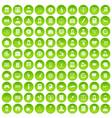 100 statistic data icons set green circle vector image vector image