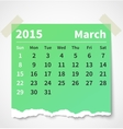 Calendar march 2015 colorful torn paper vector image