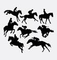 Jockey riding horse silhouette vector image vector image