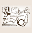 doctor tools engraving vector image