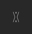 Logo X letter line monogram graphic crossing vector image